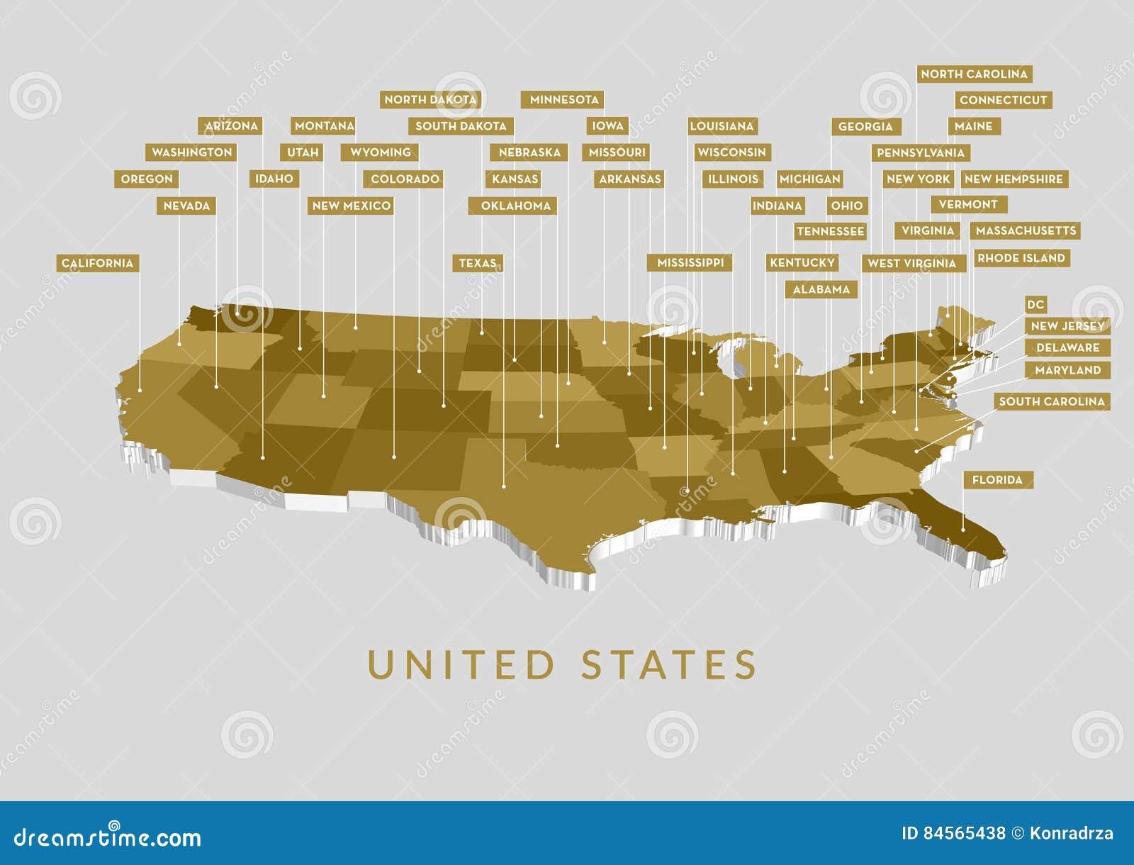 3D USA State map stock vector  Illustration of massachusetts