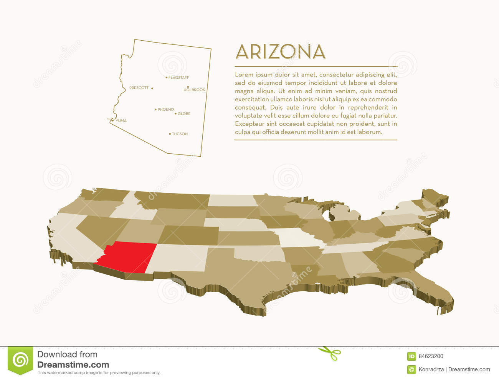 3d Map Of Arizona.3d Usa State Map Arizona Stock Vector Illustration Of Florida