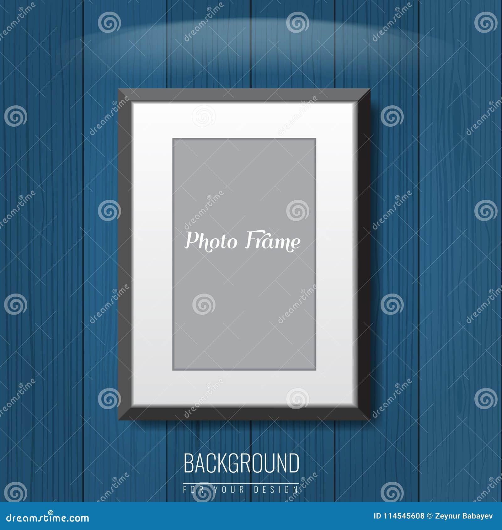 3d vacian el marco de la foto en la pared Fondo de la publicidad del vector para su disposición del anuncio