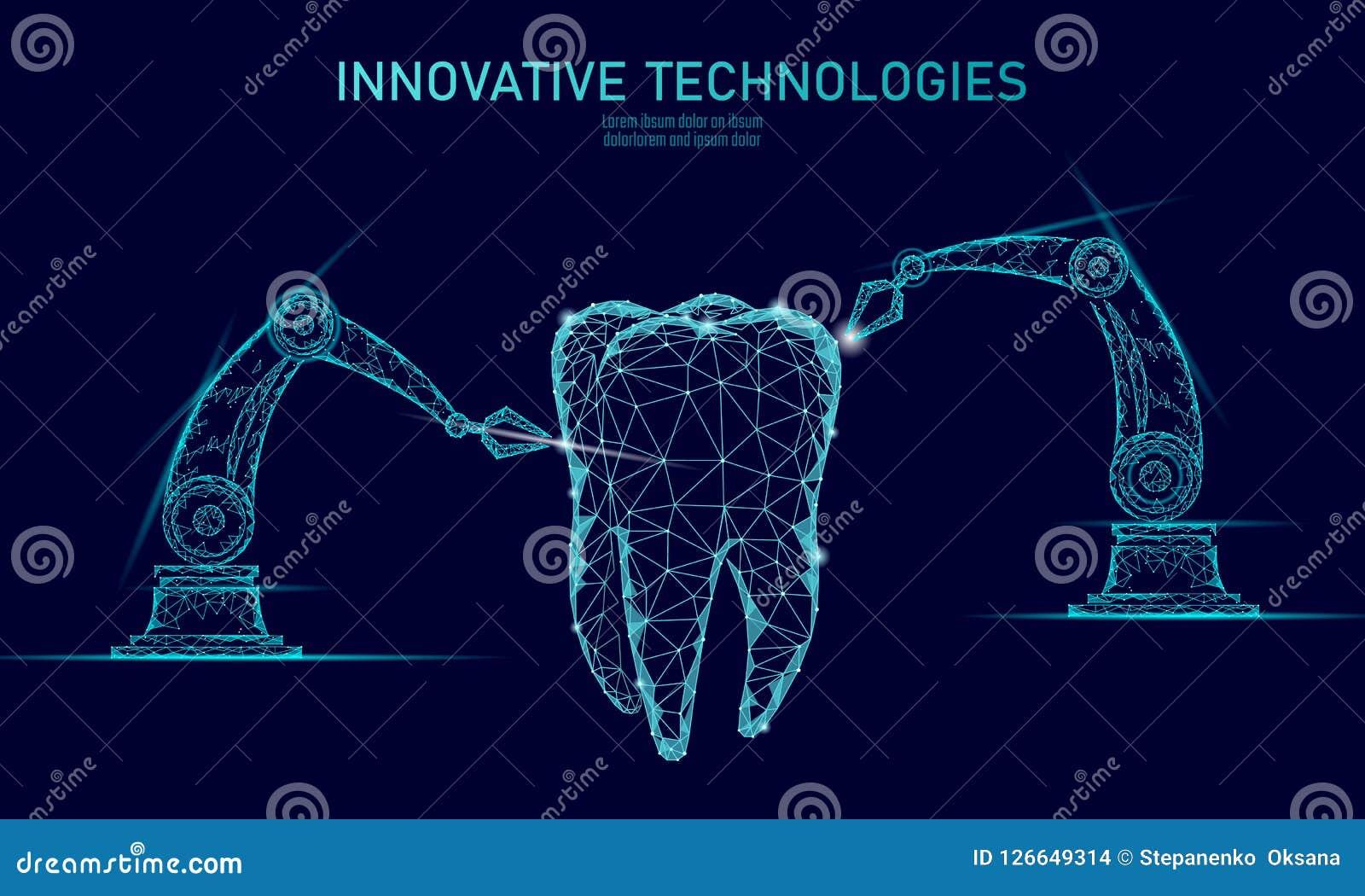 3d van het de robotwapen van de tandinnovatie veelhoekige concept Lage poly de driehoeks abstracte mondelinge tandmedische behand