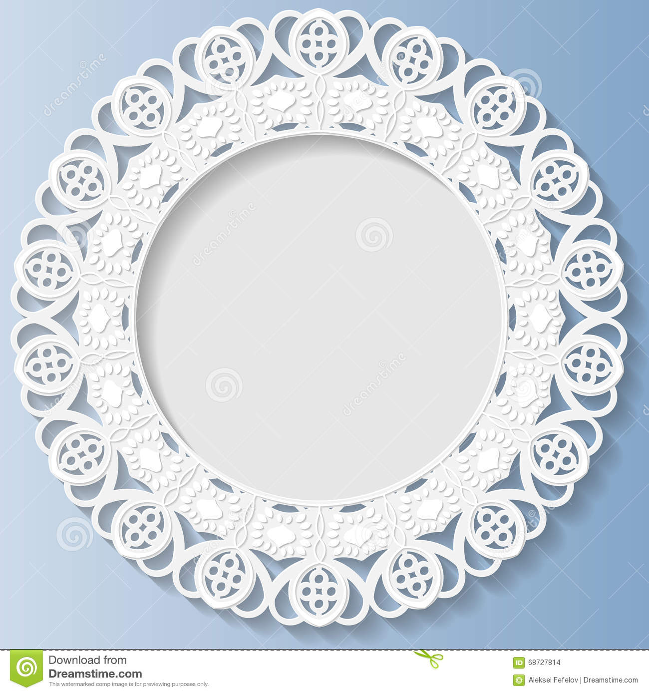 3d vector bas relief frame vignette with ornaments decorative plate festive pattern white - Decoratieve platen ...