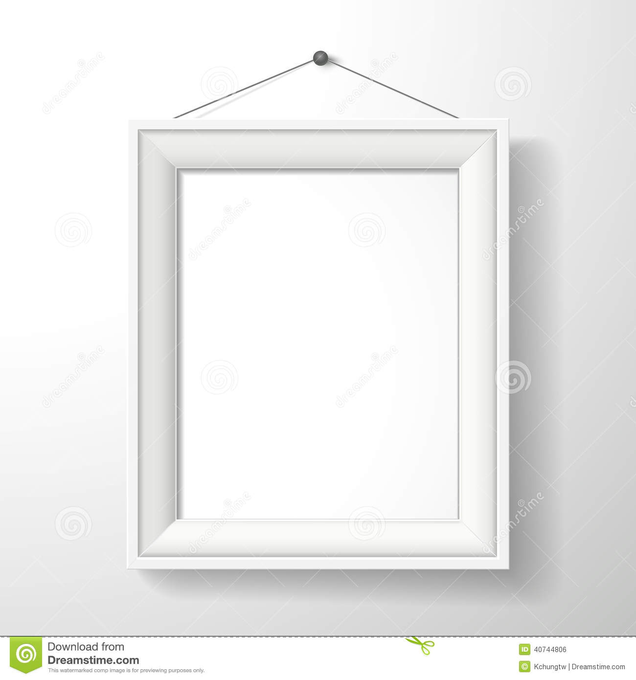 3d vector blank frame on white wall stock vector image - White wall picture frames ...