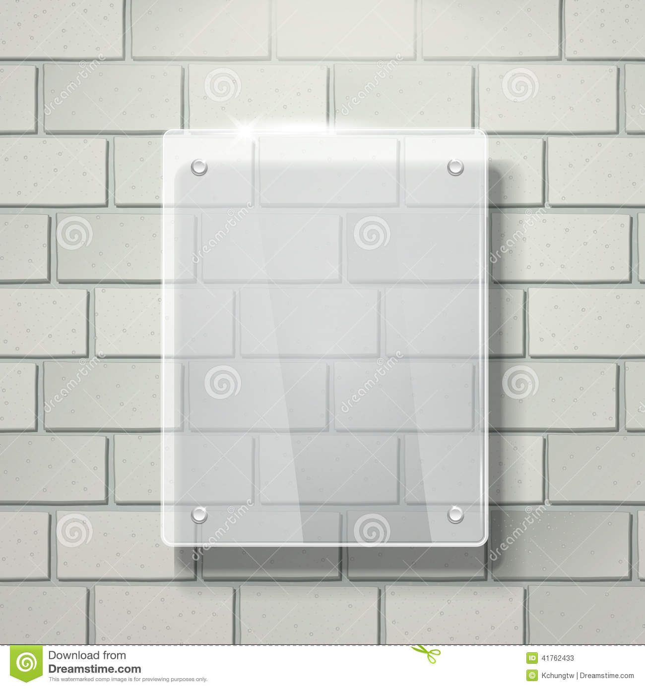 3d vector blank glass frame on white brick wall stock photos