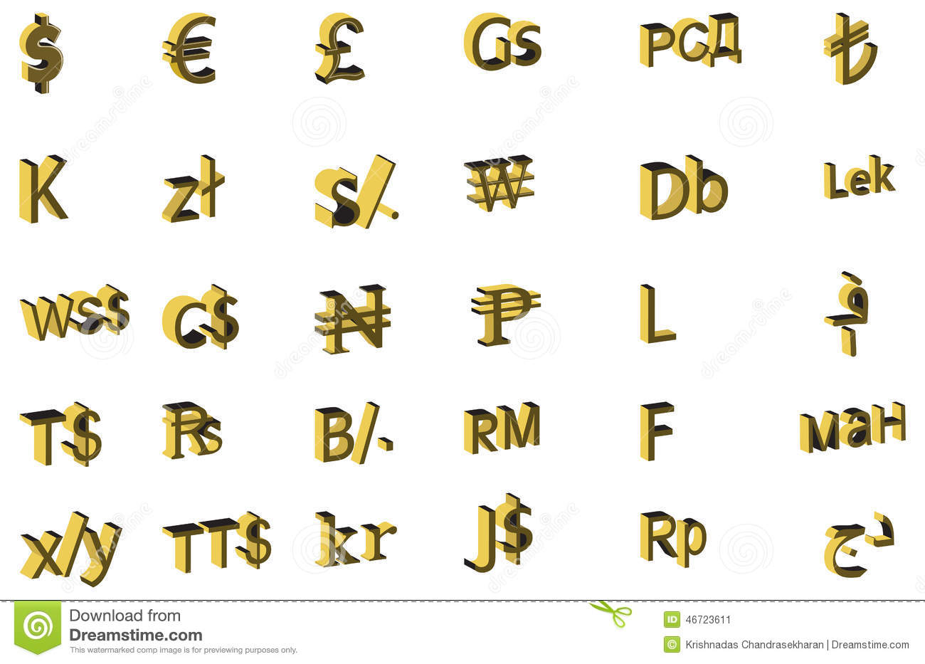 3d Vector Design Concept Of Currency Symbols Stock Vector