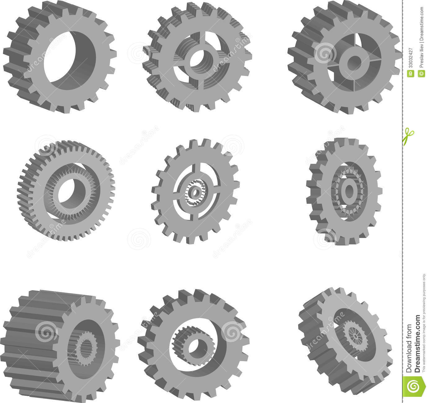 3d Vector Gears Set Royalty Free Stock Photography Image