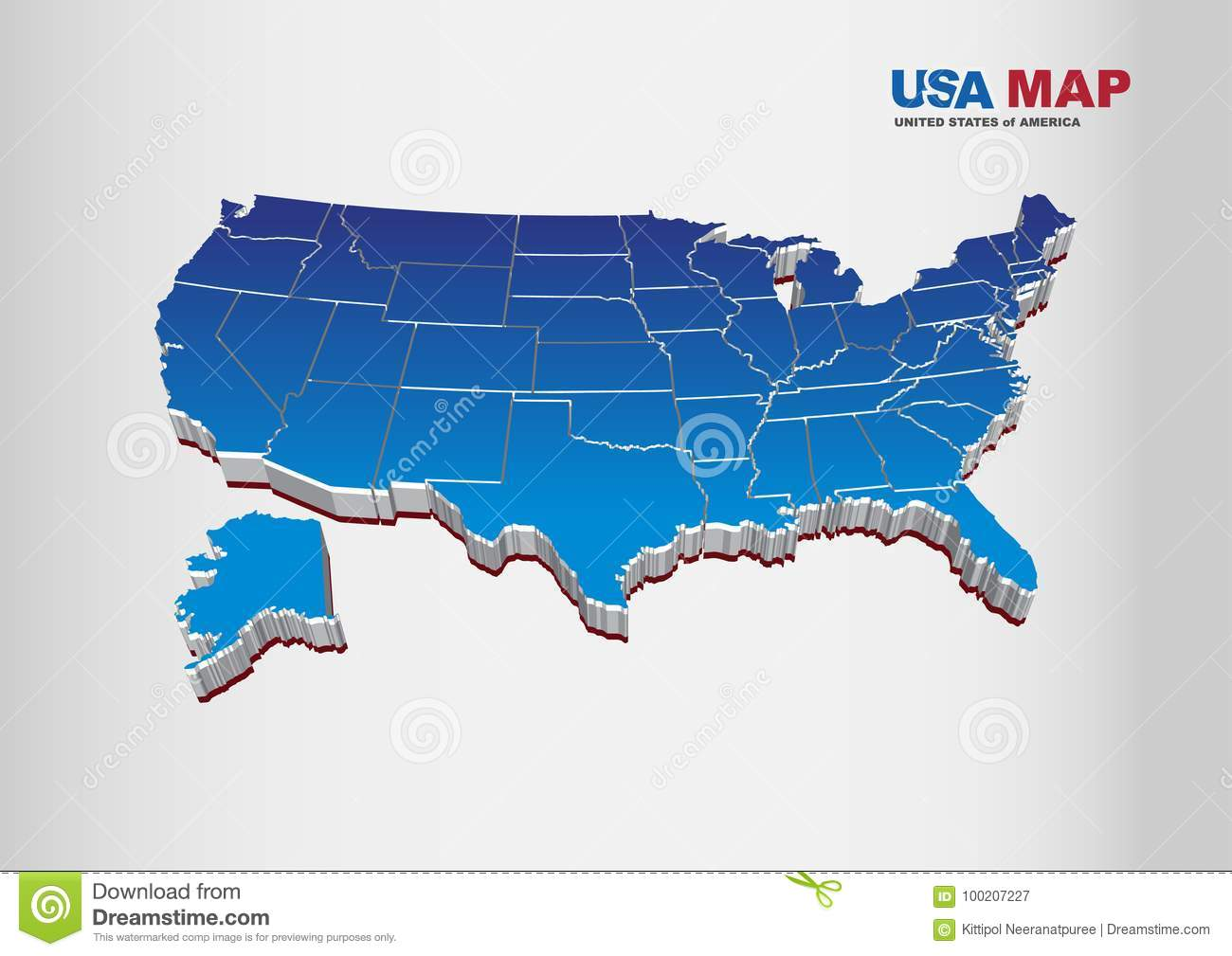 Map Of America 3d Vector.3d Vector Illustration Of United States Of America Usa Map With