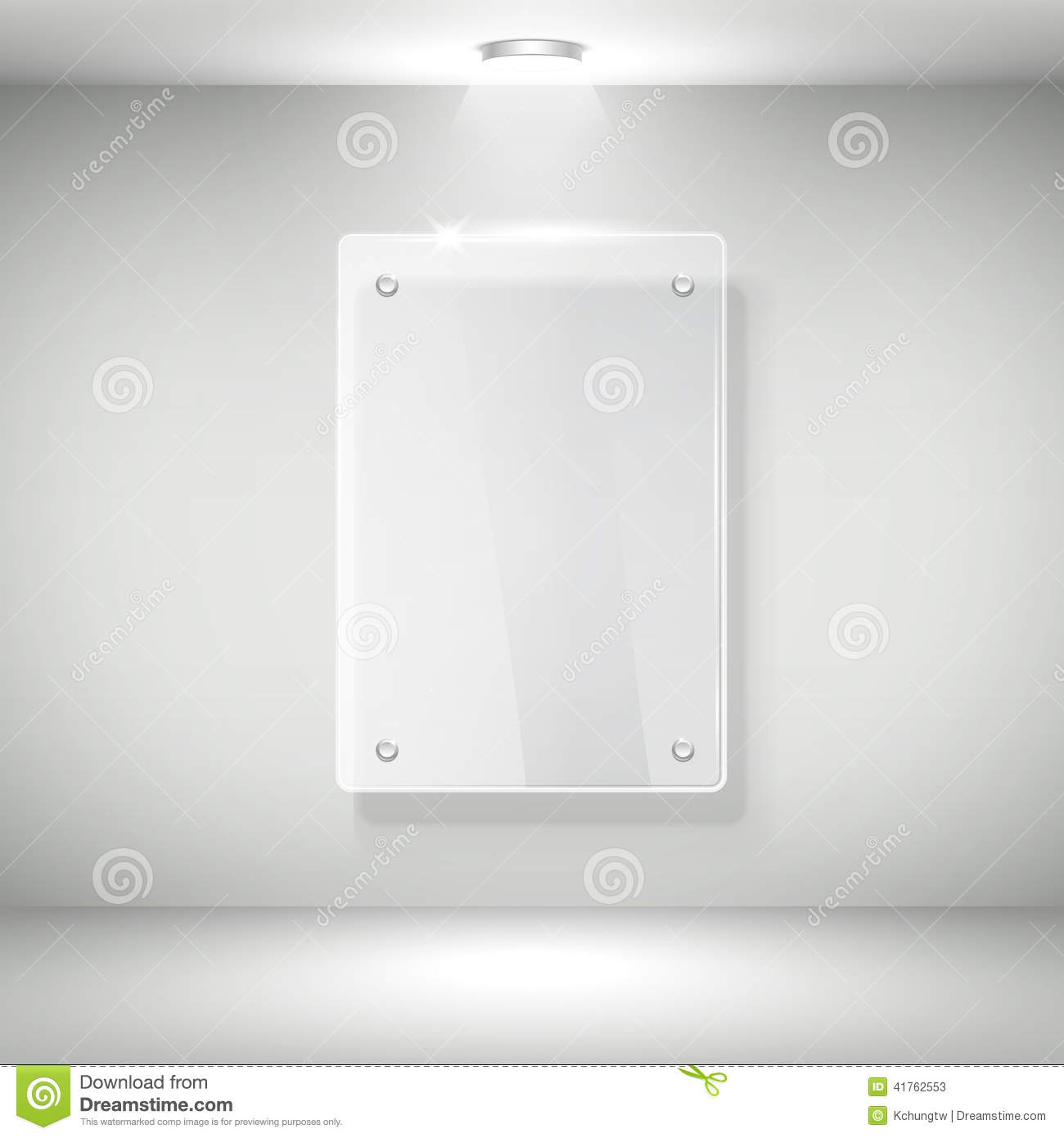 3d Vector Realistic Glass Frame On A Wall Stock Vector