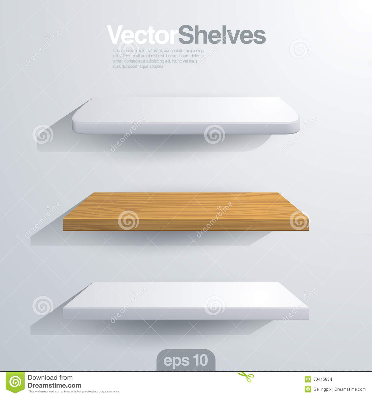 3D Vector shelves. Rectangle and rounded corner sh