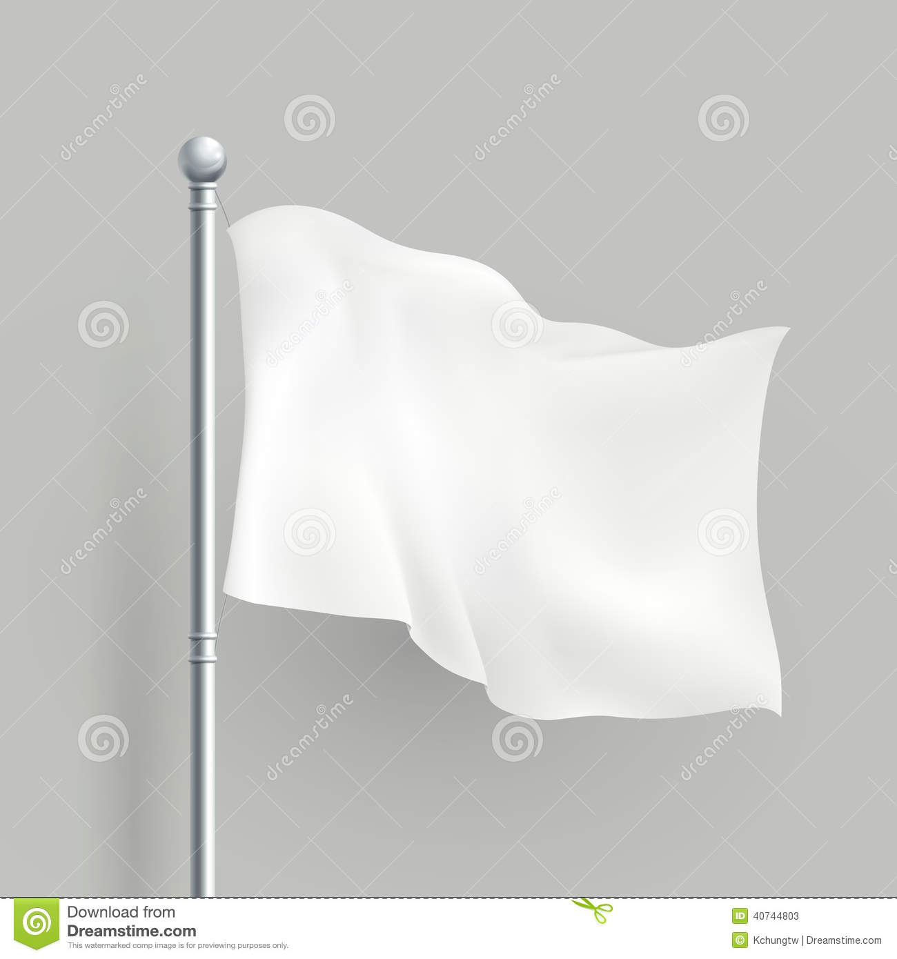 3d vector white flag blank template stock vector   image 40744803