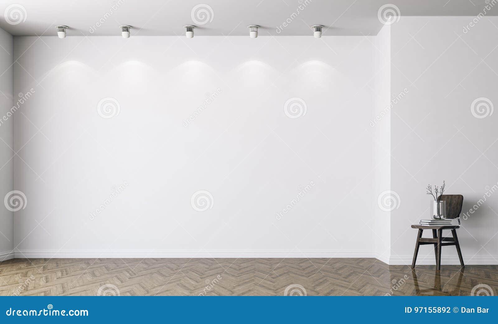 3d vident l intérieur avec les murs blancs
