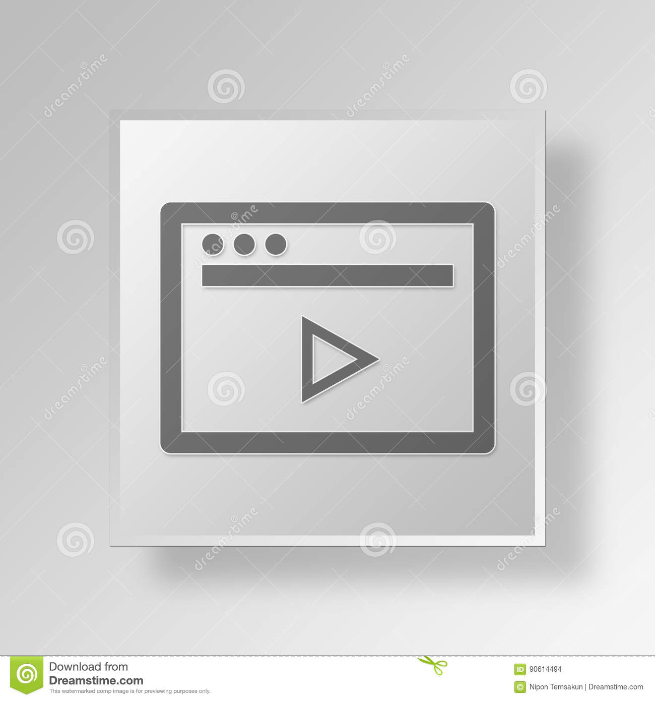 3D Video Player icon Business Concept