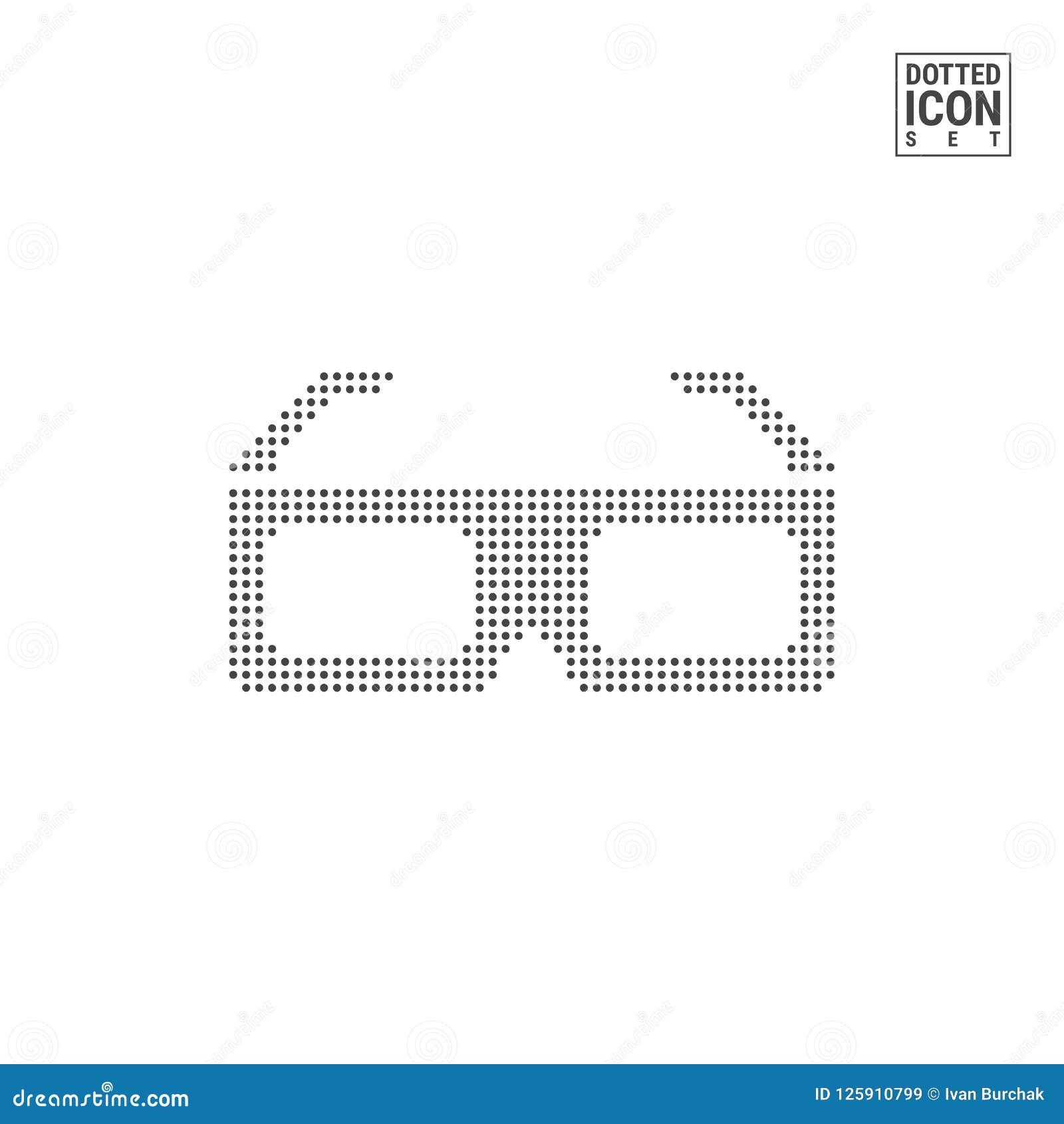 3d vidros Dot Pattern Icon Ícone pontilhado vidros do cinema isolado no branco Molde do fundo ou do projeto do vetor
