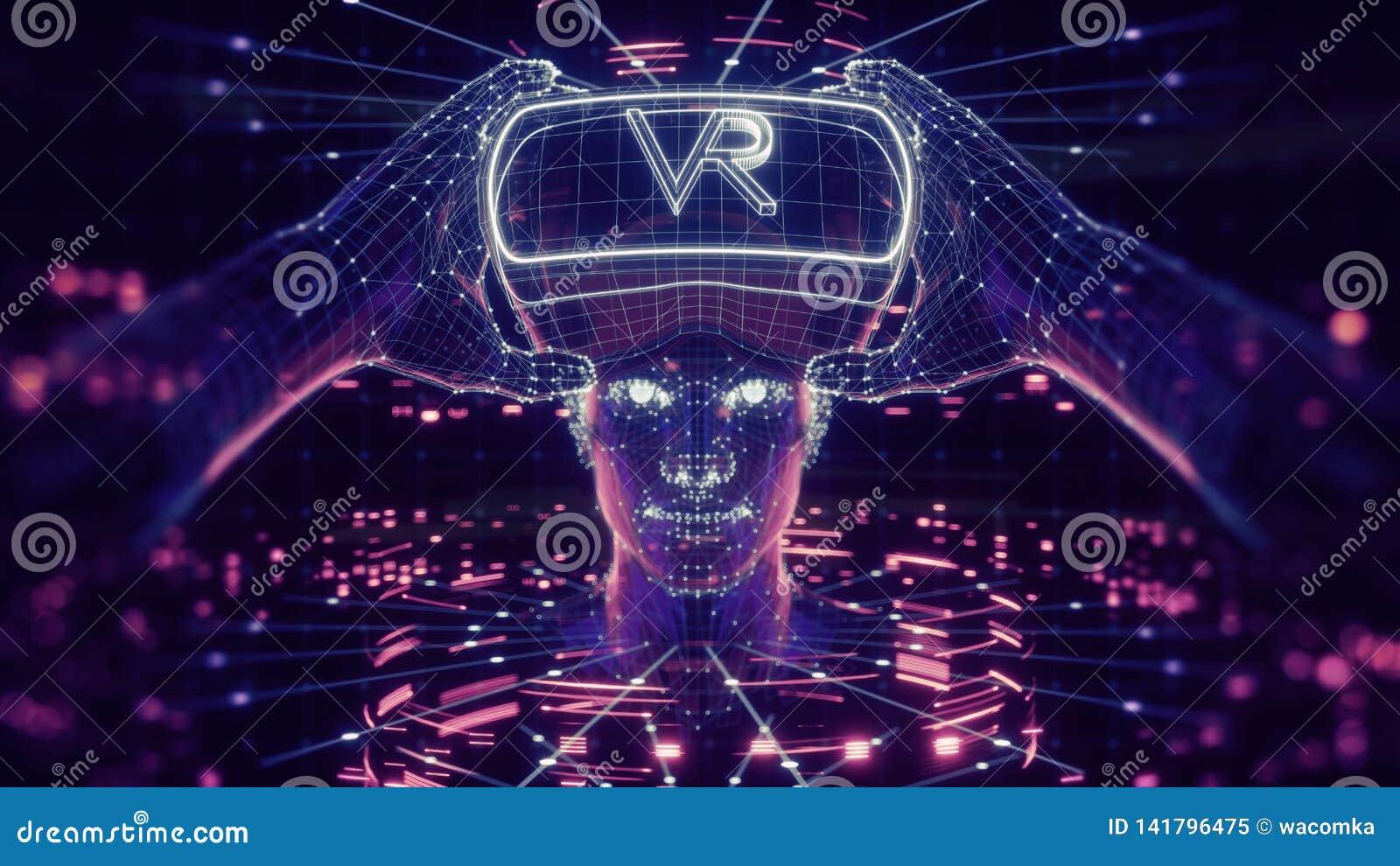 3D visualisation des verres de port d une réalité virtuelle d homme, dispositif principal électronique, avatar virtuel, interface