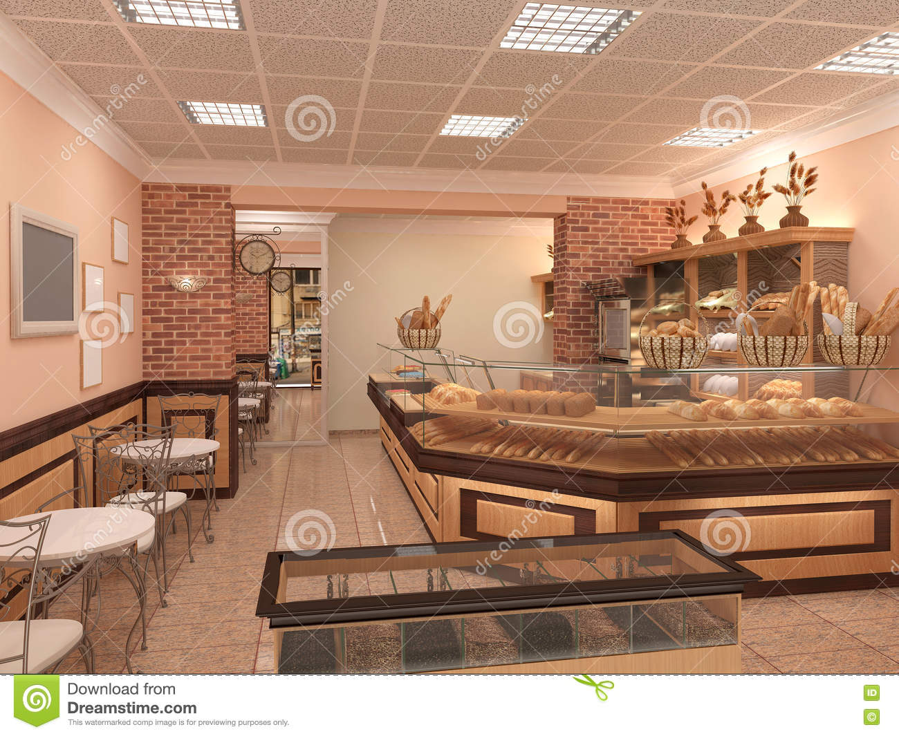 Bakery Interior Design 3d visualization of a bakery interior design stock illustration