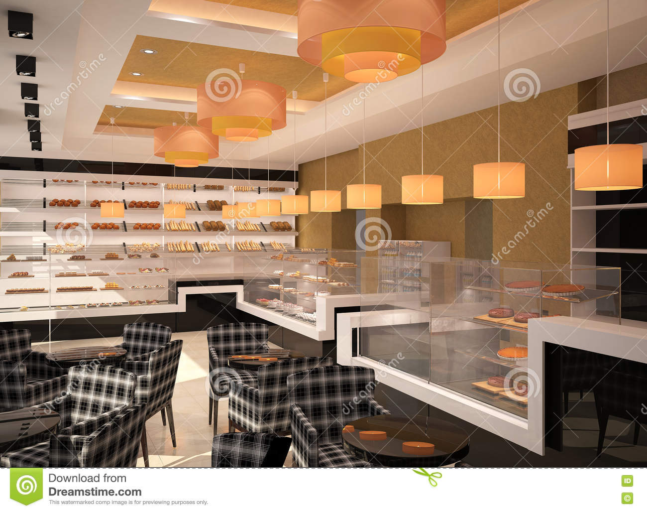 3d Visualization Of A Bakery Interior Design Stock Illustration Illustration Of Tables Room