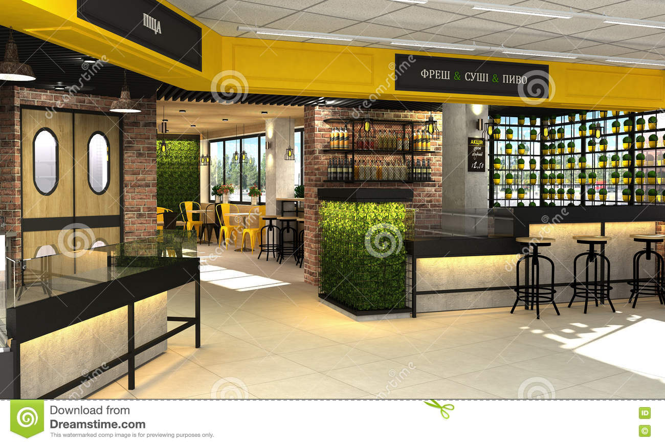 3d visualization of food store with a cafe and bar inside for 3d restaurant design software