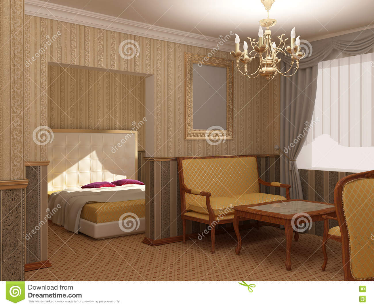 3d Visualization Of A Hotel Interior Design Royalty Free