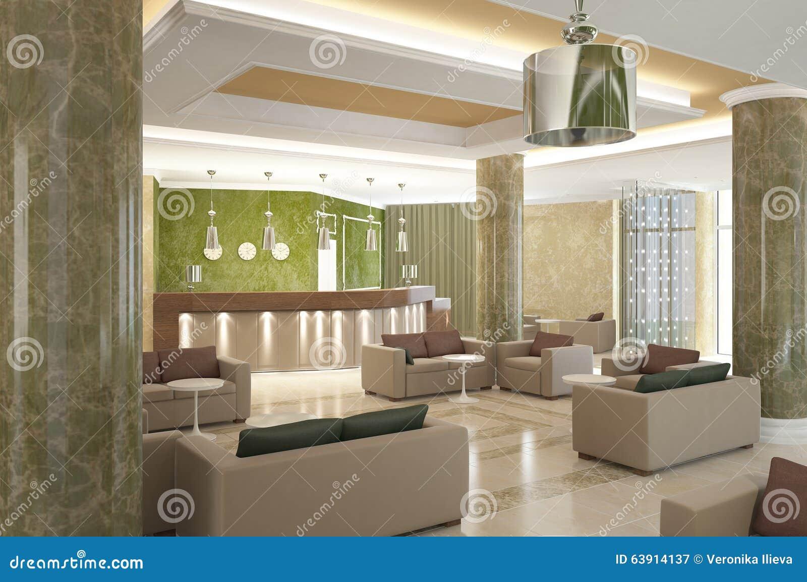 3d Visualization Of Hotel Interior Design Stock Illustration