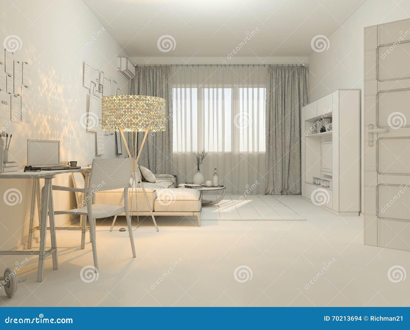 3d visualization of interior design living in a studio for Minimalist studio design