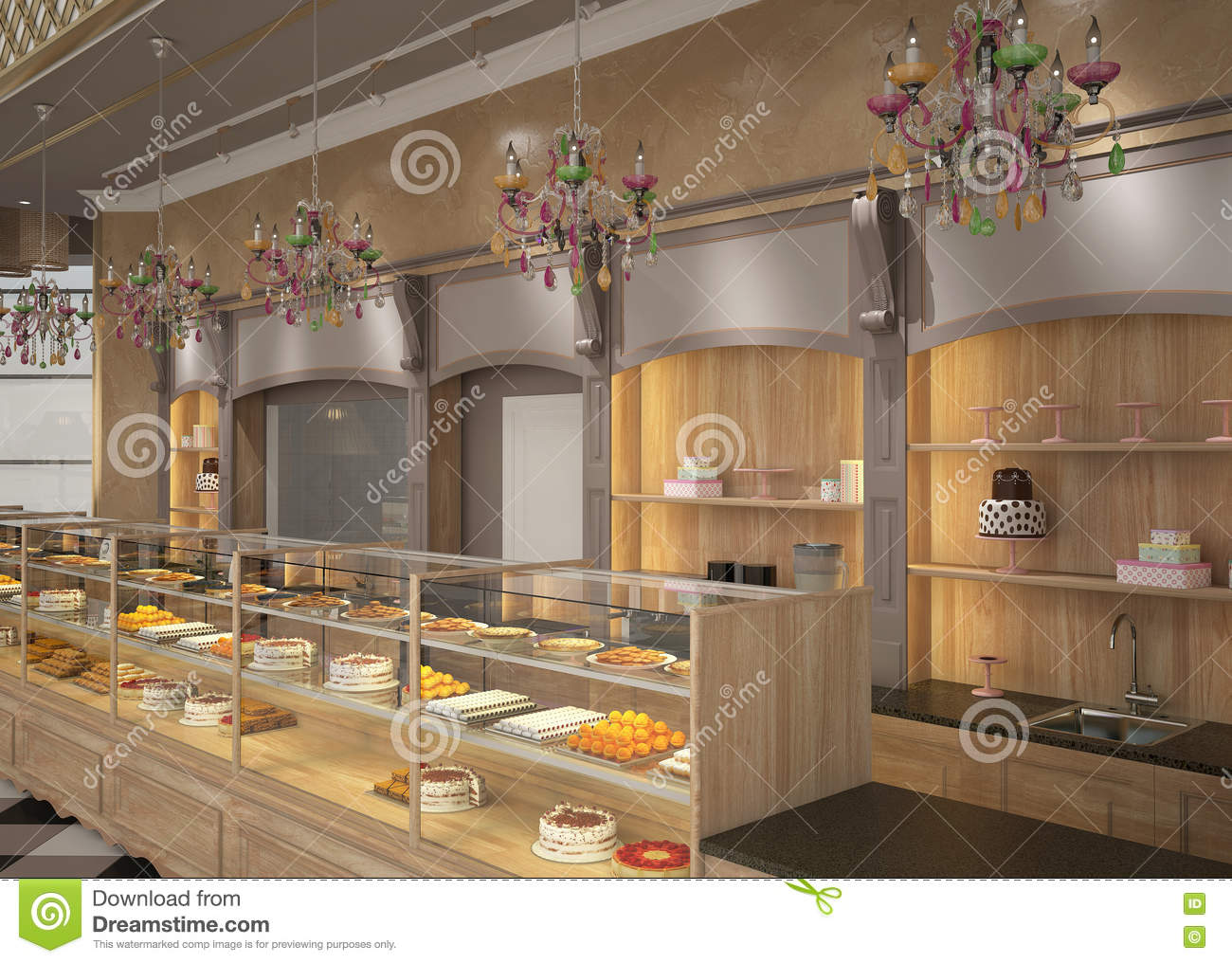 3d visualization of a pastry shop interior design stock for Bakery shop interior decoration