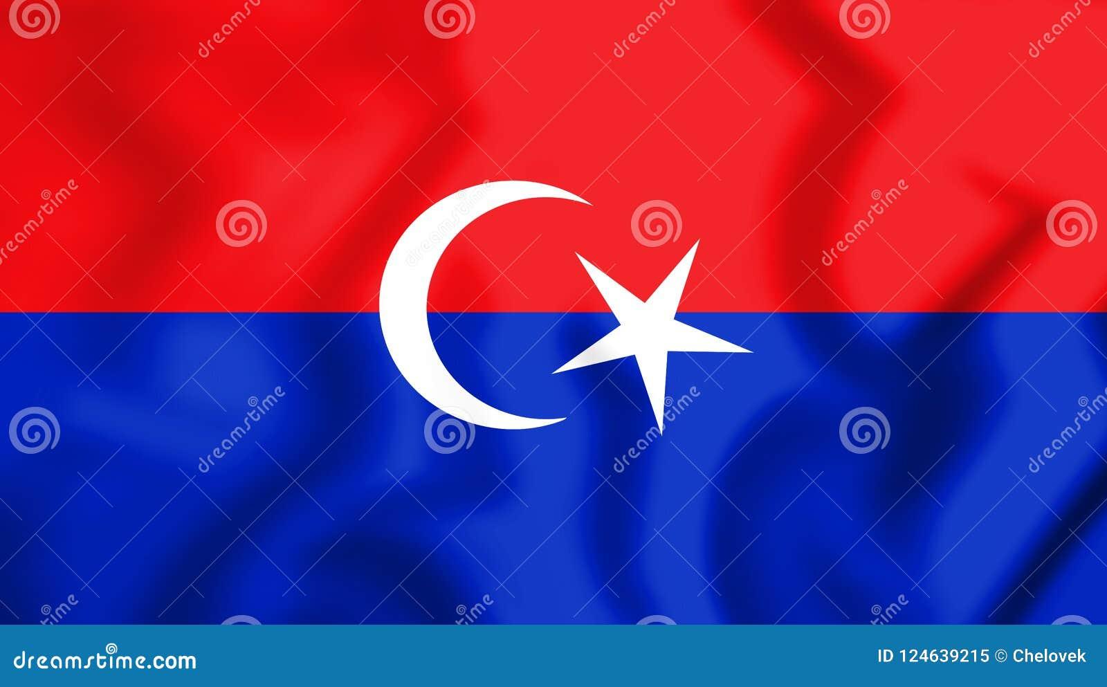 3D Vlag van Pontian District Johor, Maleisië