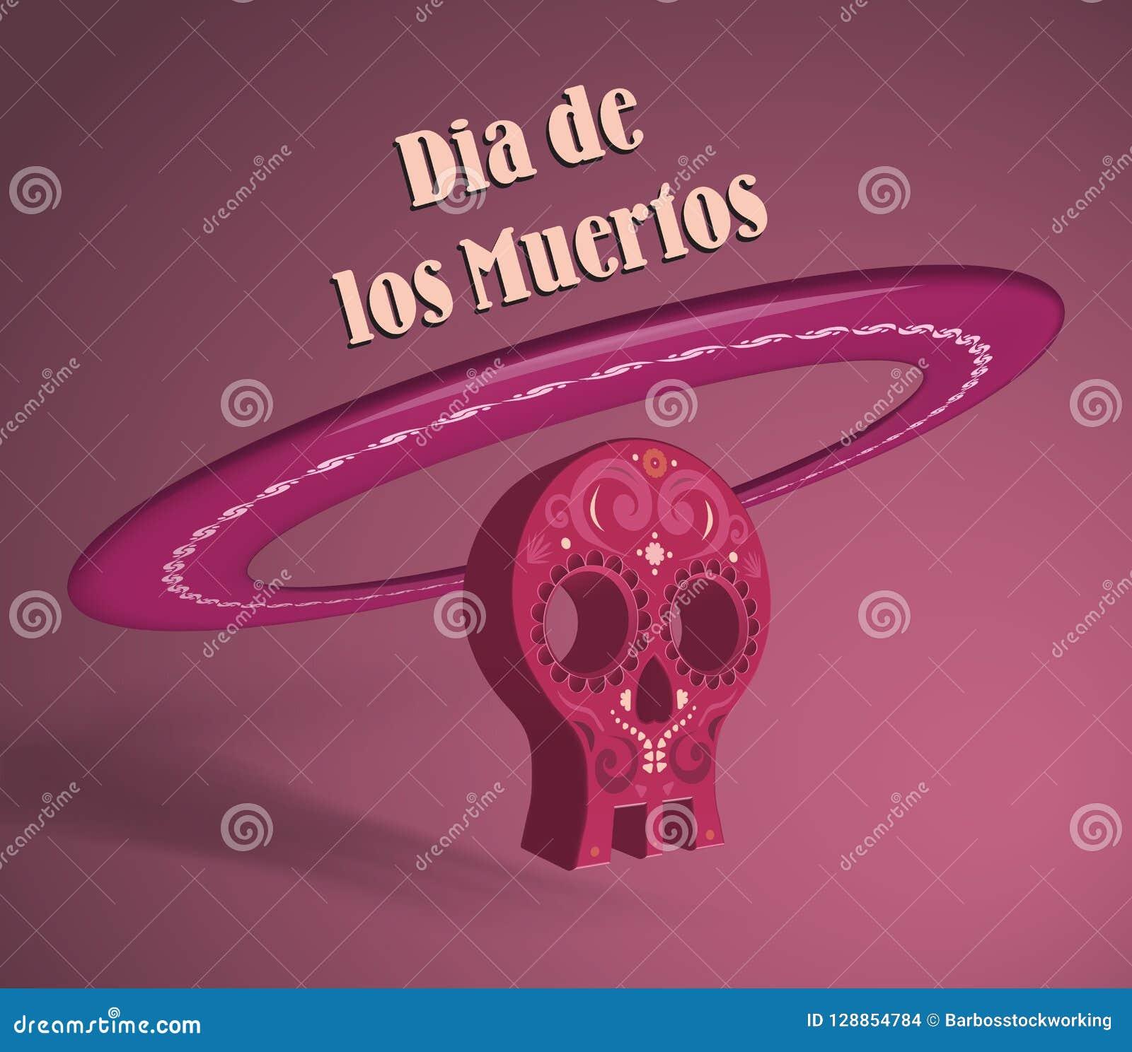 3d voorwerp die schedel en sombrerohoed symboliseren