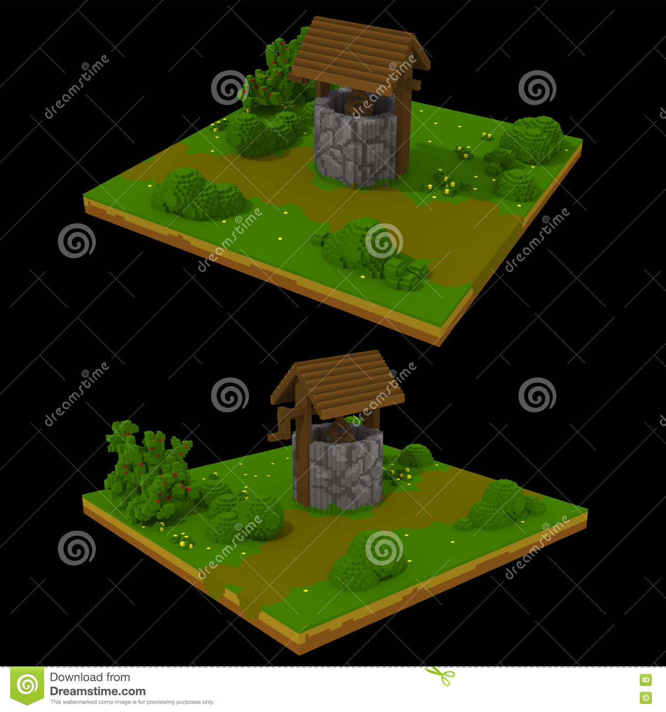More similar stock images of 3d landscape with fall tree - 3d Voxel Landscape With Well Royalty Free Stock Image