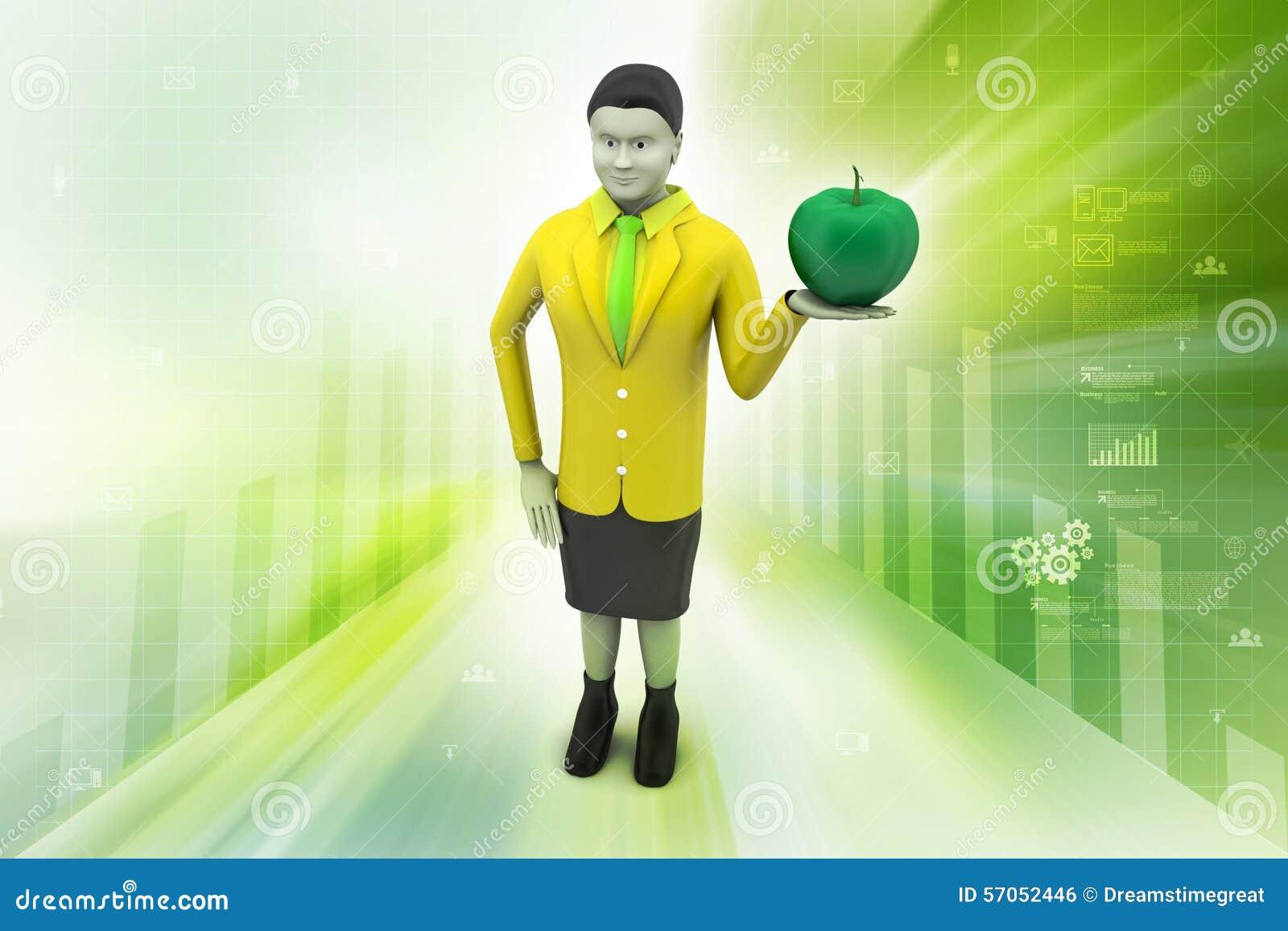 3d vrouw met appel