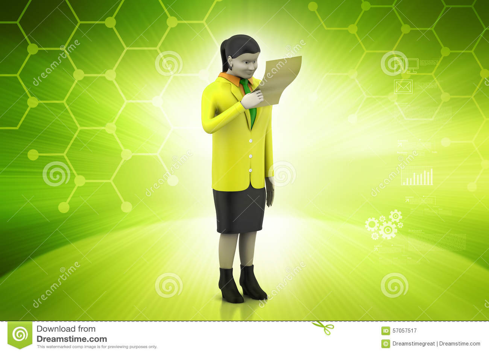 3d vrouwen die het document kijken