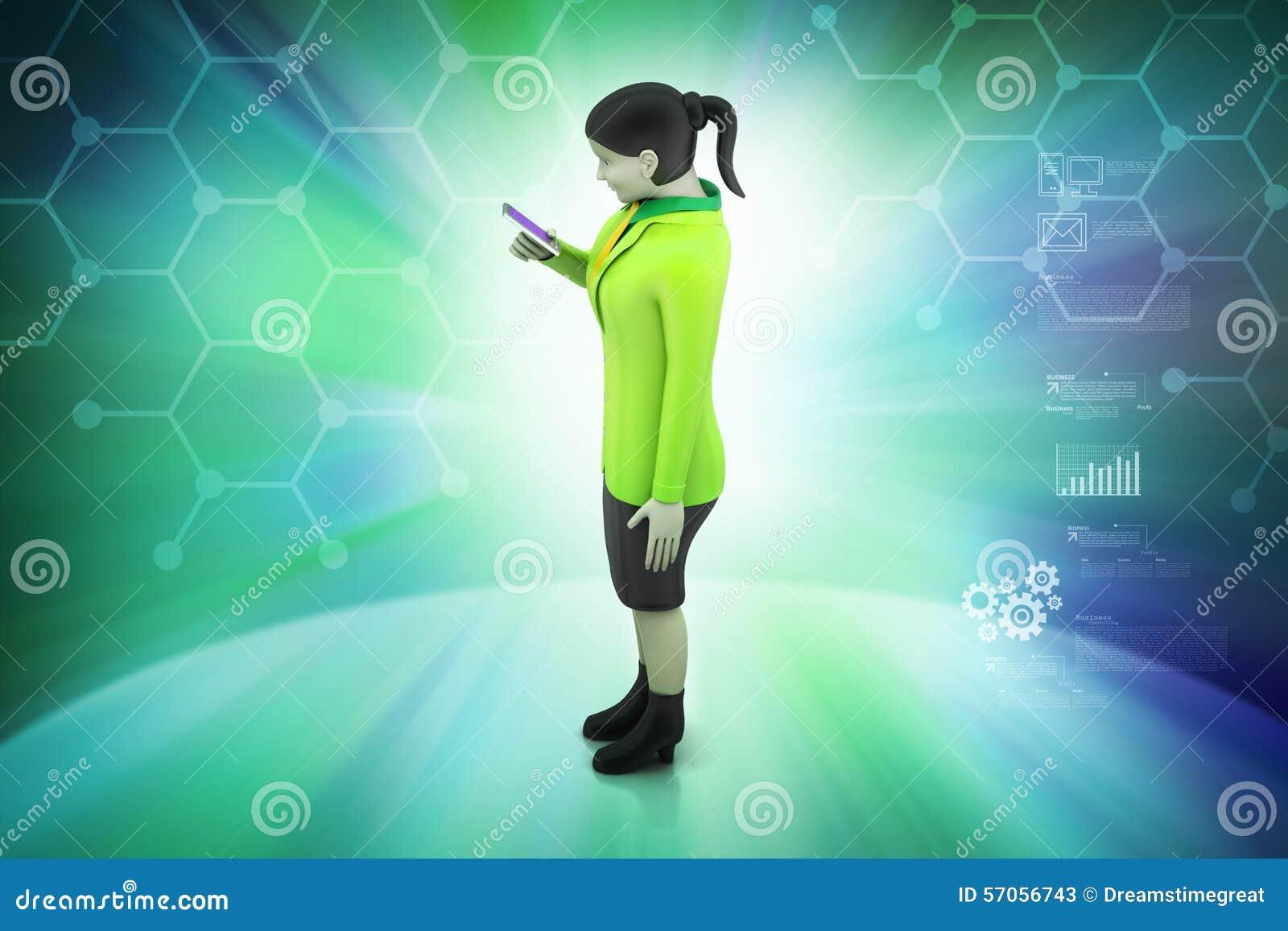 3d vrouwen die slimme telefoon kijken