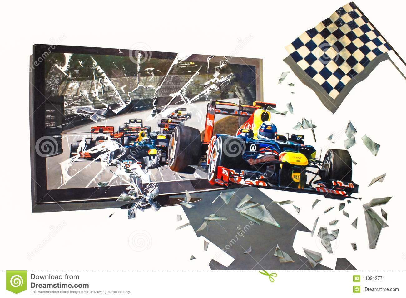 3d Wall Painting Of Racing Cars Drove Out Of Television On The Wall