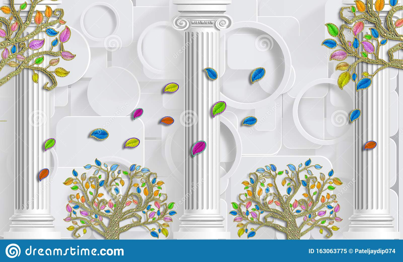 d wallpaper background decoration design wall high n floral photo mural 163063775