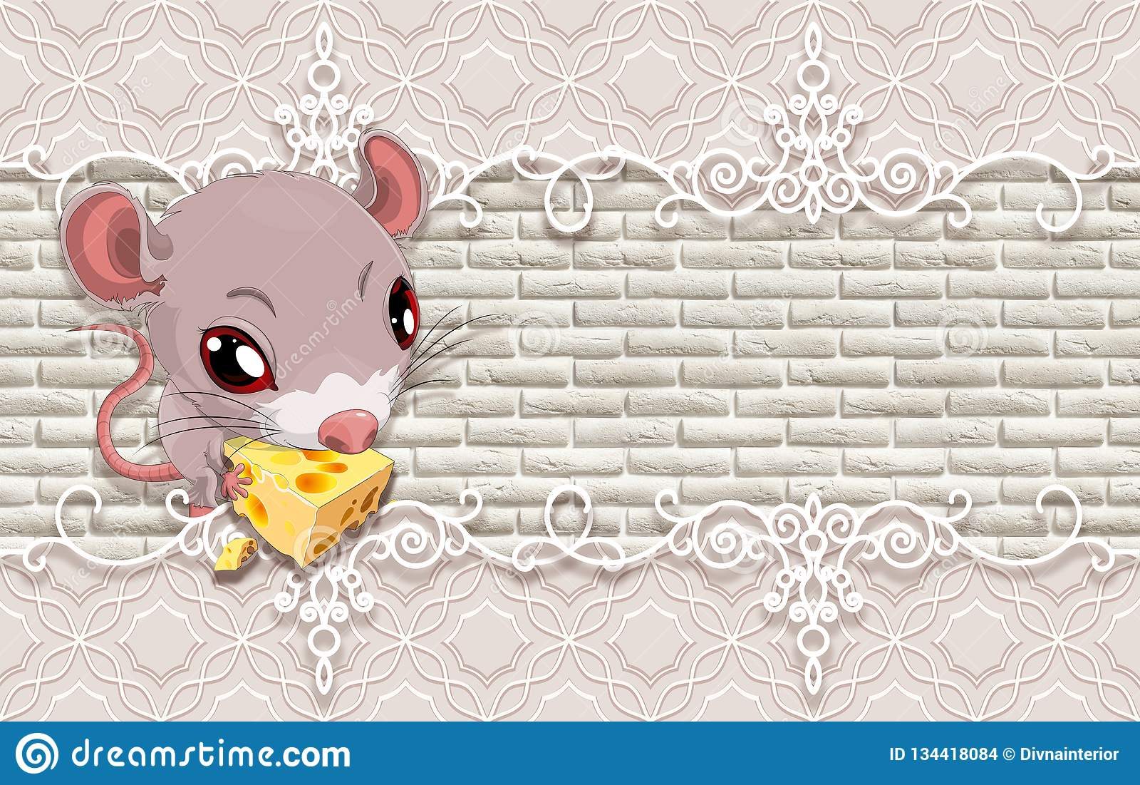 3d Wallpaper Cute Baby Background With Mouse Stock