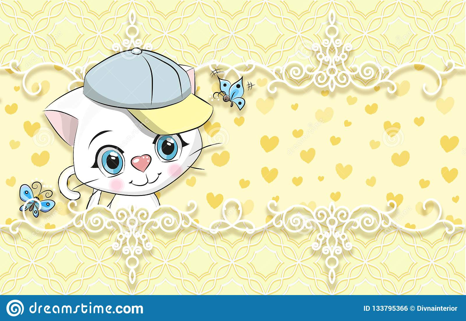 3d Wallpaper Cute Yellow Background With Kitten Stock