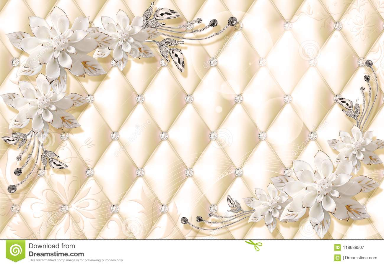 3d Wallpaper Design For Photomurals With Jewels And Upholstry Stock