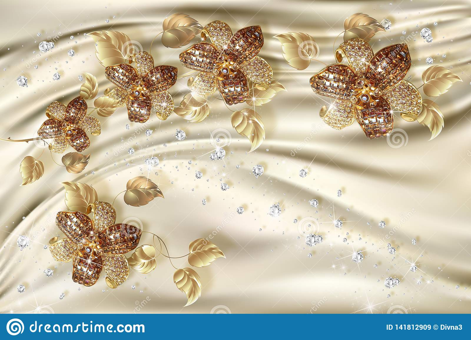 3d wallpaper gold jewelry flowers on