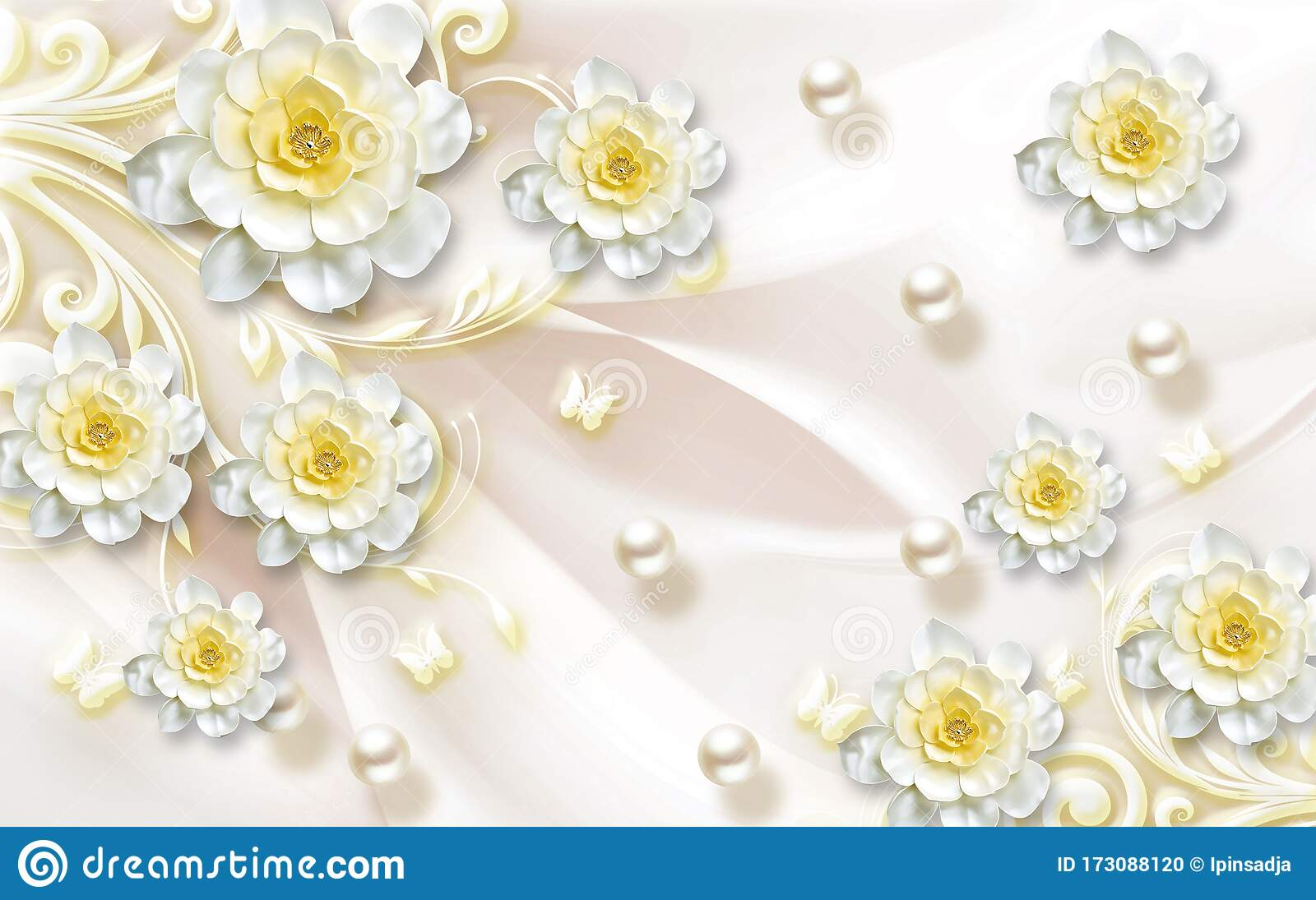 3d Wallpaper Luxury Jawelry Floral Yellow Ornamental Stock Photo