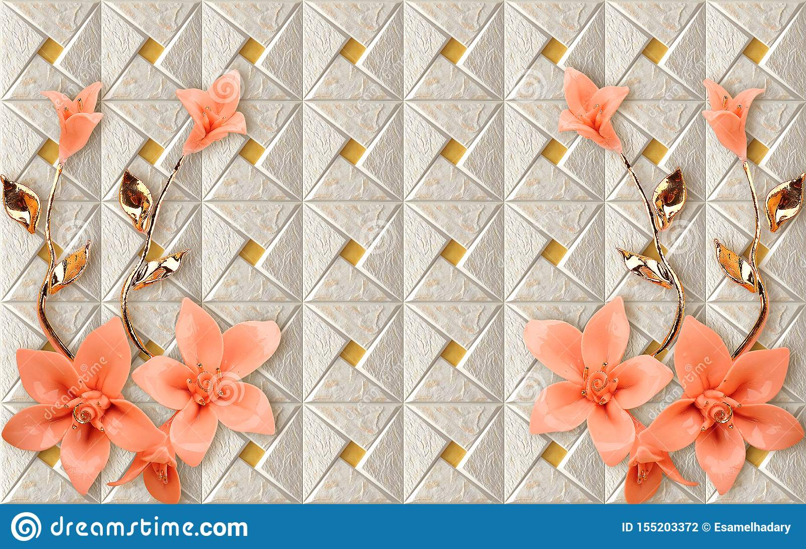 3d Wallpaper Mural Design With Floral And Geometric Golden Branch
