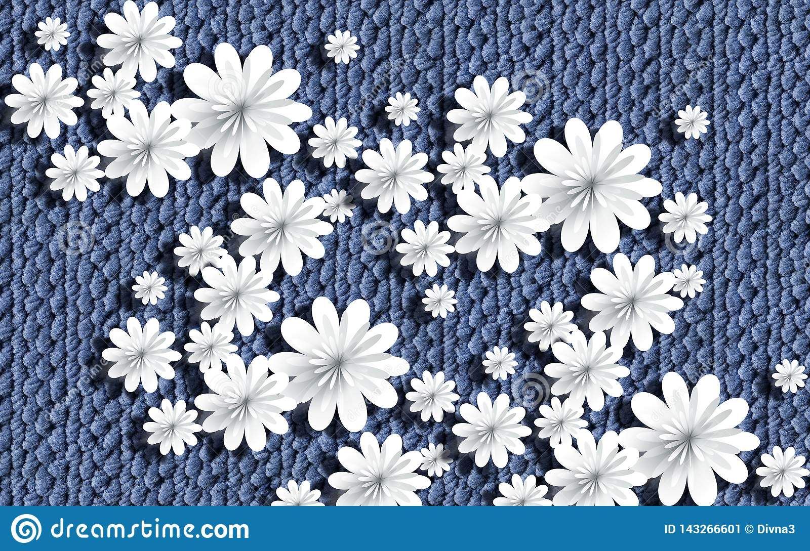 3d Wallpaper Paper Flowers On Knitted Texture Stock Illustration