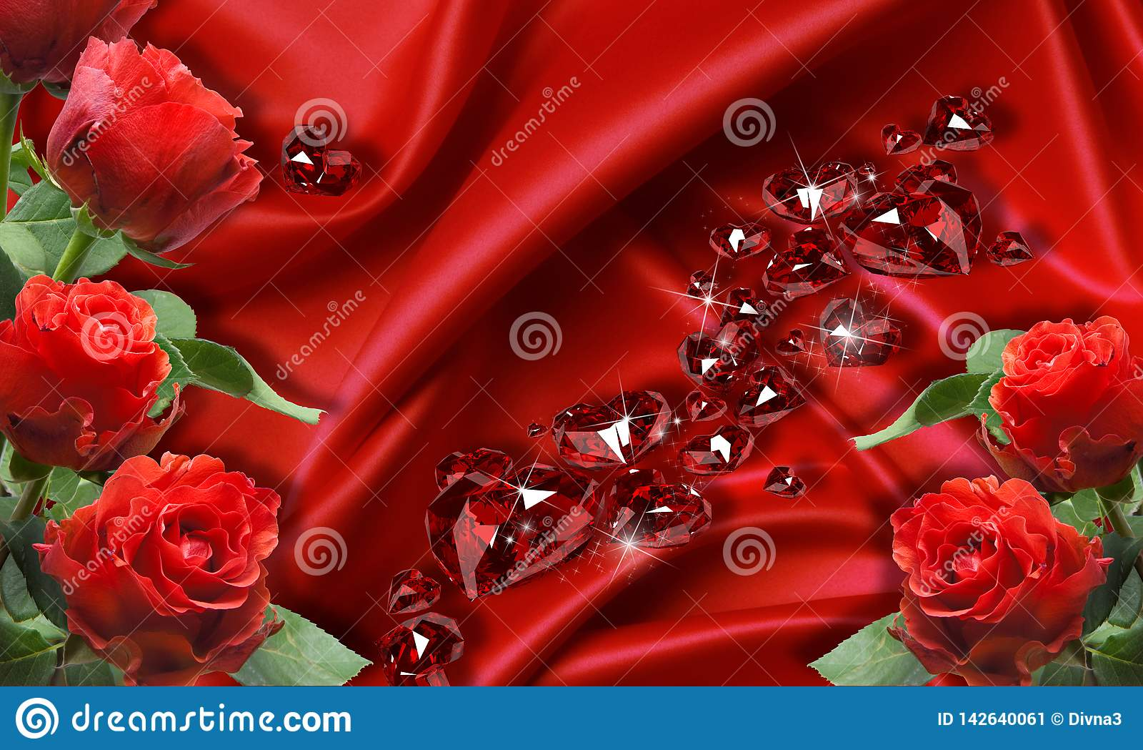 3d Wallpaper, Red Roses On Silk ...