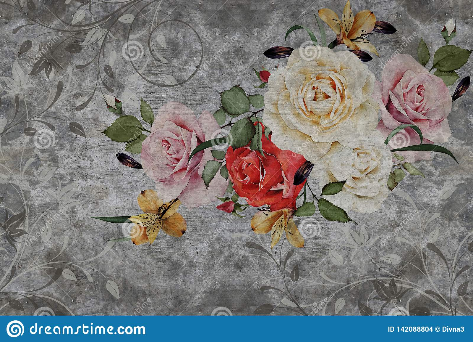 d wallpaper roses flower concrete wall textured background original panel will turn your room most recent world 142088804