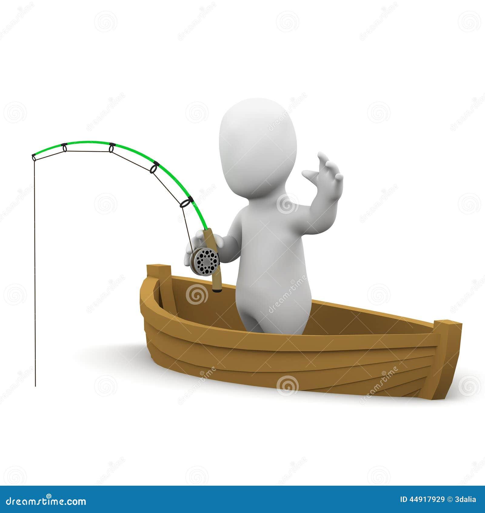 3d Weinig mens die van een boot vissen