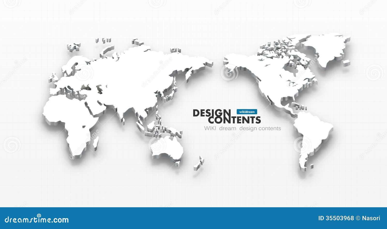 3d wektorowa światowa mapa