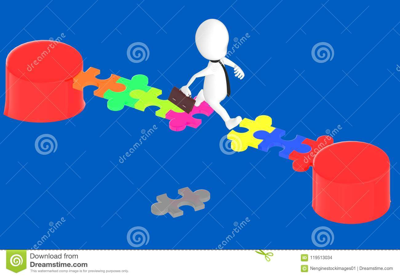 3d White Character Jumping Over The Gap Between Puzzles In A