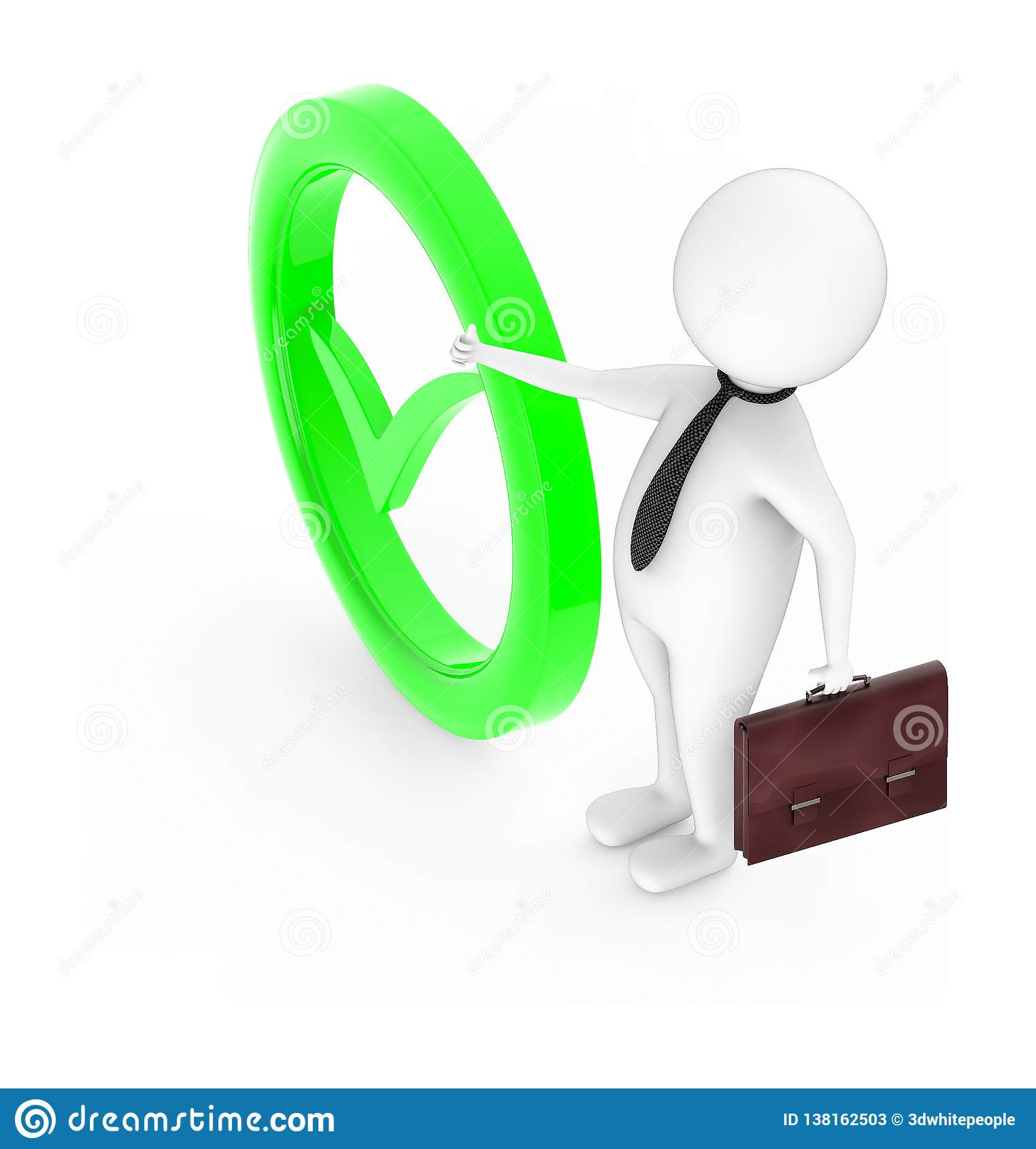 3d white character showing thumbs up gesture and holding a briefcase in his hand while standing near to a tick mark sign