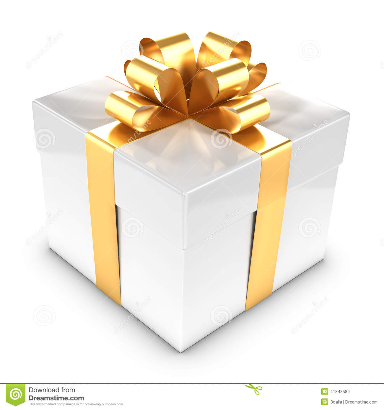 Gift Box Gold : D white and gold gift box stock illustration