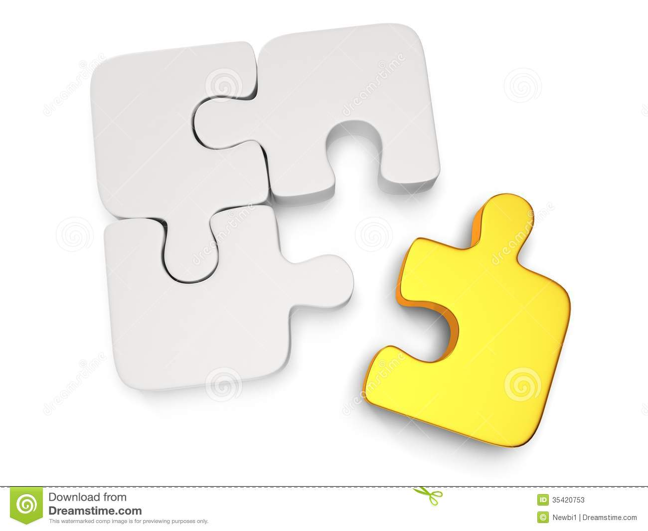 3d White And Gold Puzzle On White Stock Photos - Image: 35420753