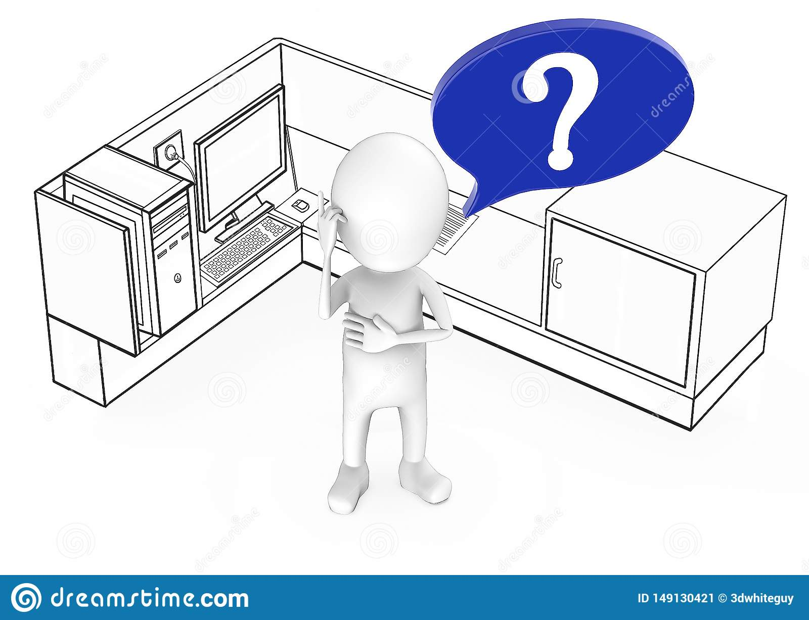 3d white guy with question mark in speech bubble standing inside a office cubicle
