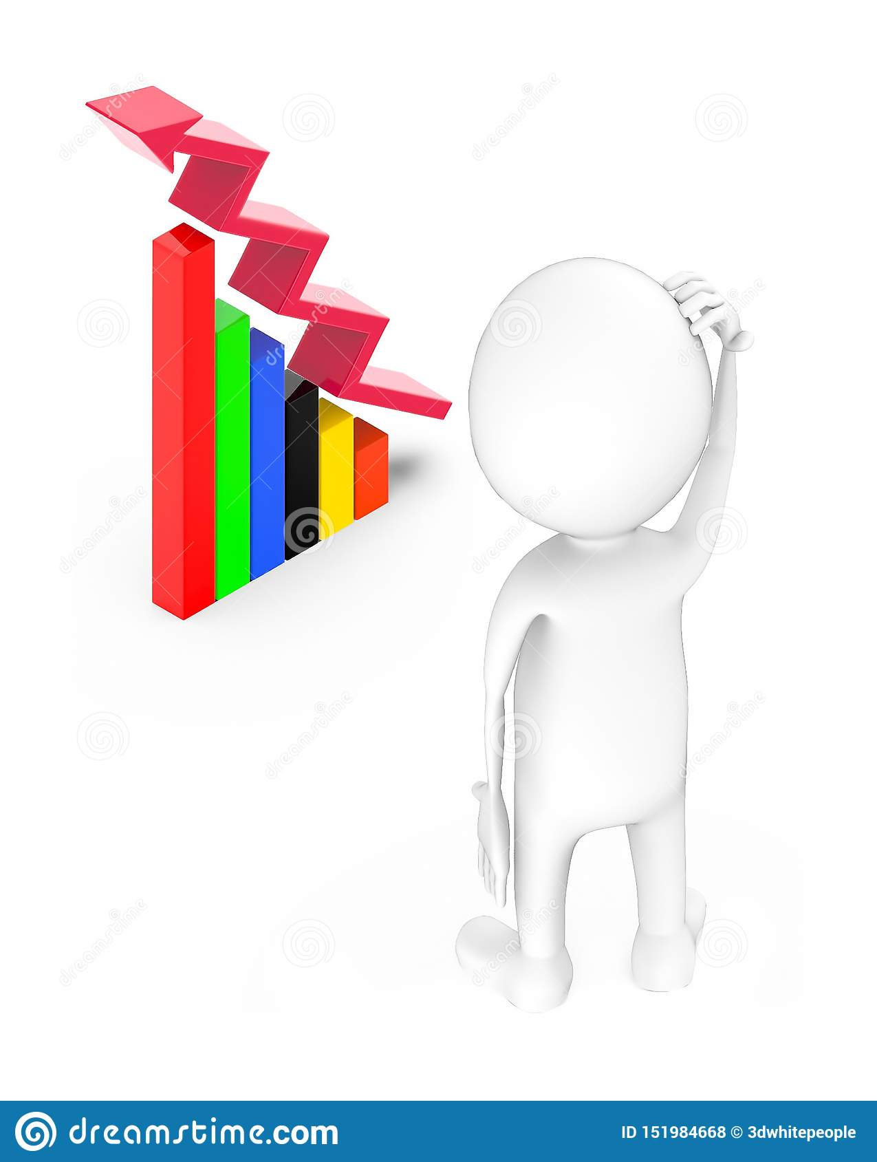 3d White Guy Stand And Scraching Head Bar Graph And Arrow Over It Stock Illustration Illustration Of Investment Arrow 151984668 Sometimes by paying attention to which leaders were standing next to others, they could figure out. dreamstime com