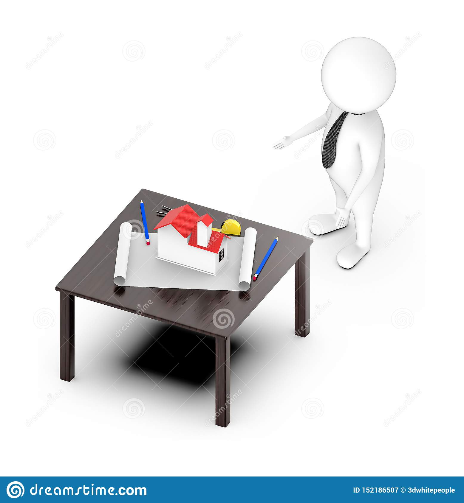 3d white guy , standing , hands widened -table with house draft divider measurement tape